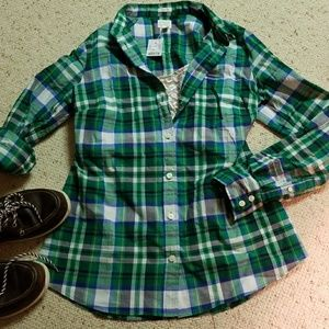 J. Crew Perfect Fit green plaid button shirt M